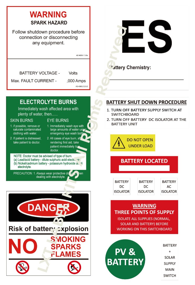 Battery Label Kits - Option 7