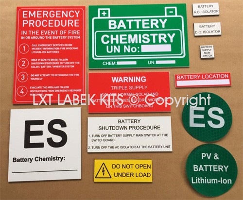 Battery Label Kits - Option 8