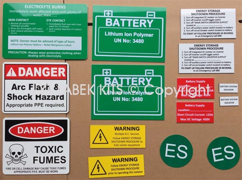 Battery Label Kits - Option 9