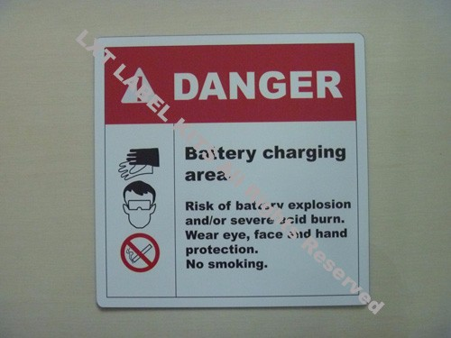 Danger -  Battery Charging Area label